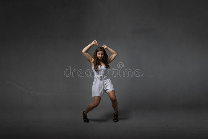 Girl in a wild dancing royalty free stock photography