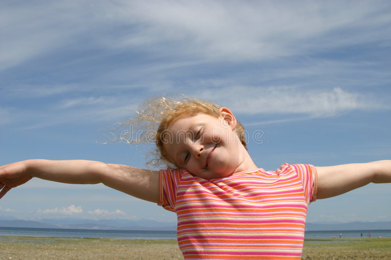 Girl wild and free stock photography