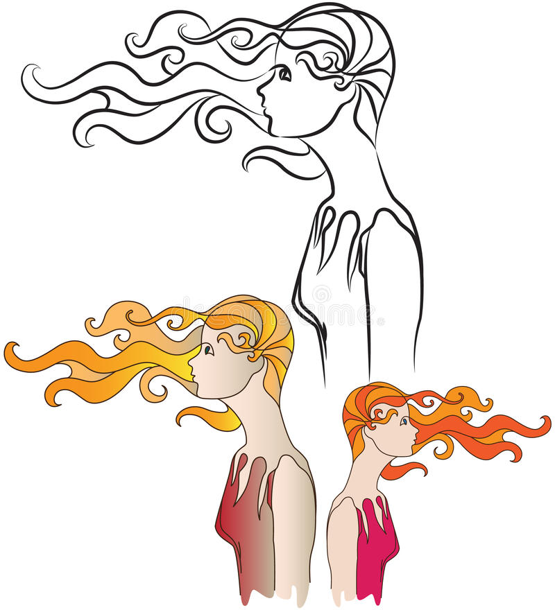 Girl In the Wind stock illustration