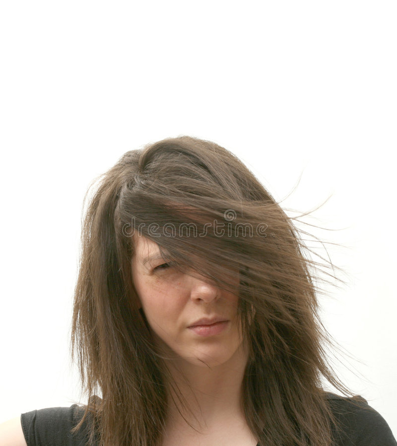 Girl in wind stock photos