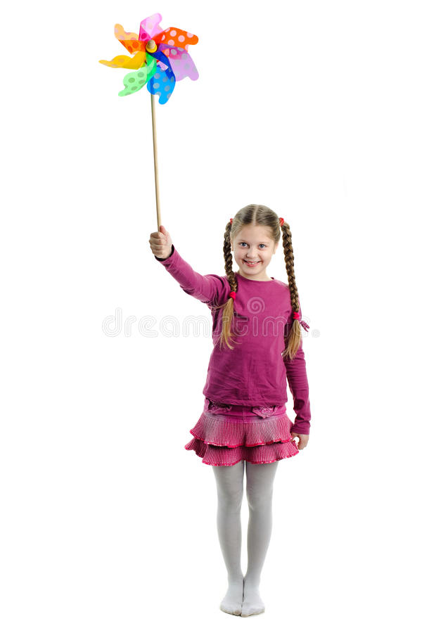 Download Girl with wind toy stock photo. Image of blowing, game - 24366326
