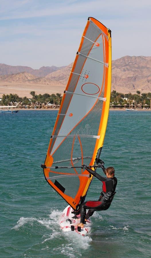 Girl on windsurf, Egypt, Dahab royalty free stock photos