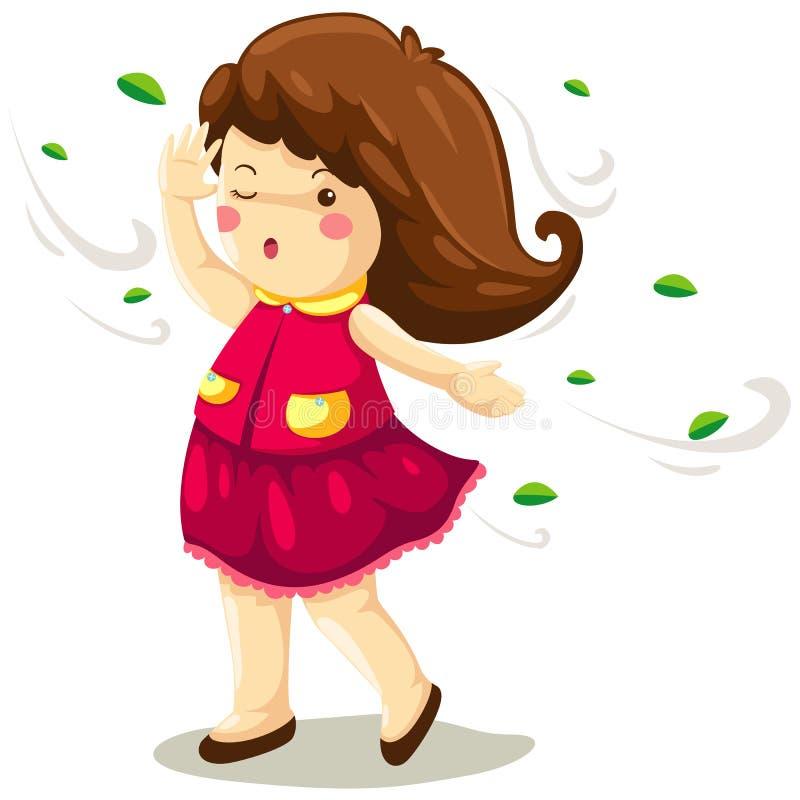 Girl in windy vector illustration
