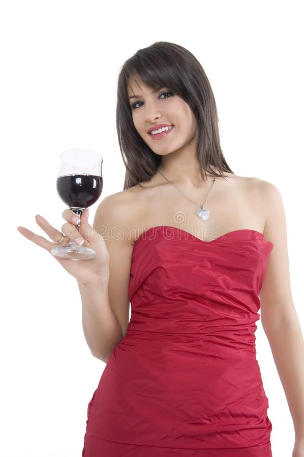 Girl and wine stock image