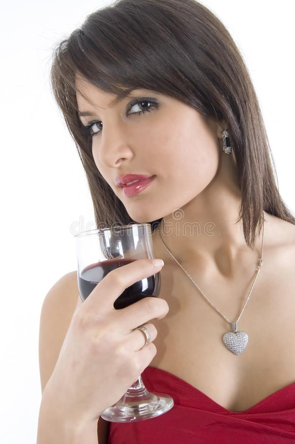 Girl and wine royalty free stock photos