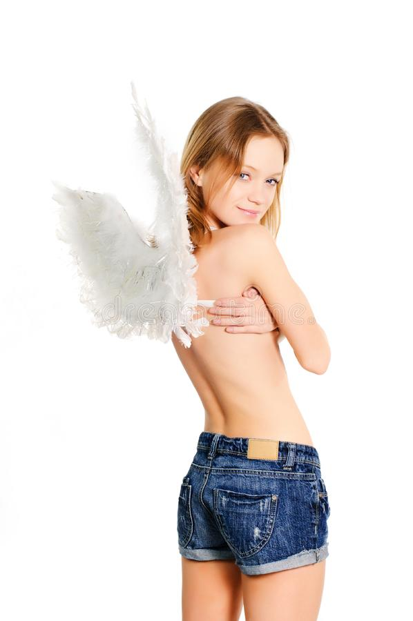 Girl with wings royalty free stock image