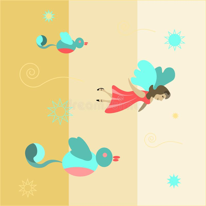 Girl with wings flies with birds abstract children`s drawing. Fairy flying royalty free illustration
