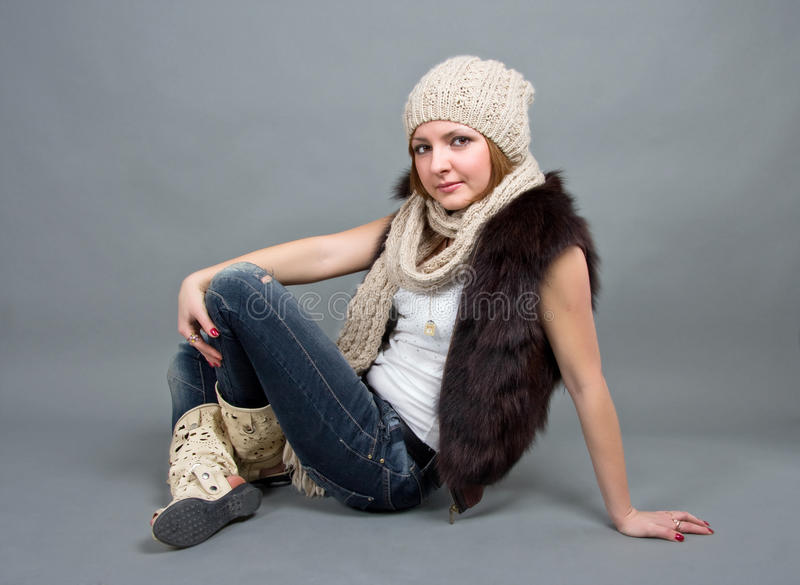Download The girl in a winter cap stock photo. Image of attractive - 23744798