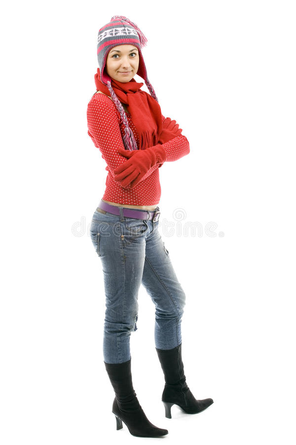 Download Girl  In Winter Cap And Mittens Stock Images - Image: 12928224