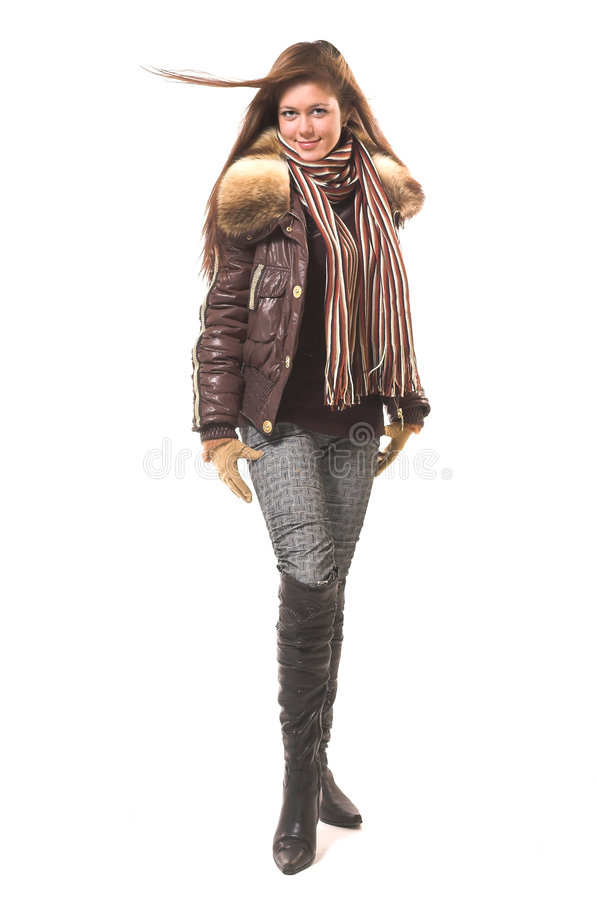 The girl in winter clothes royalty free stock images