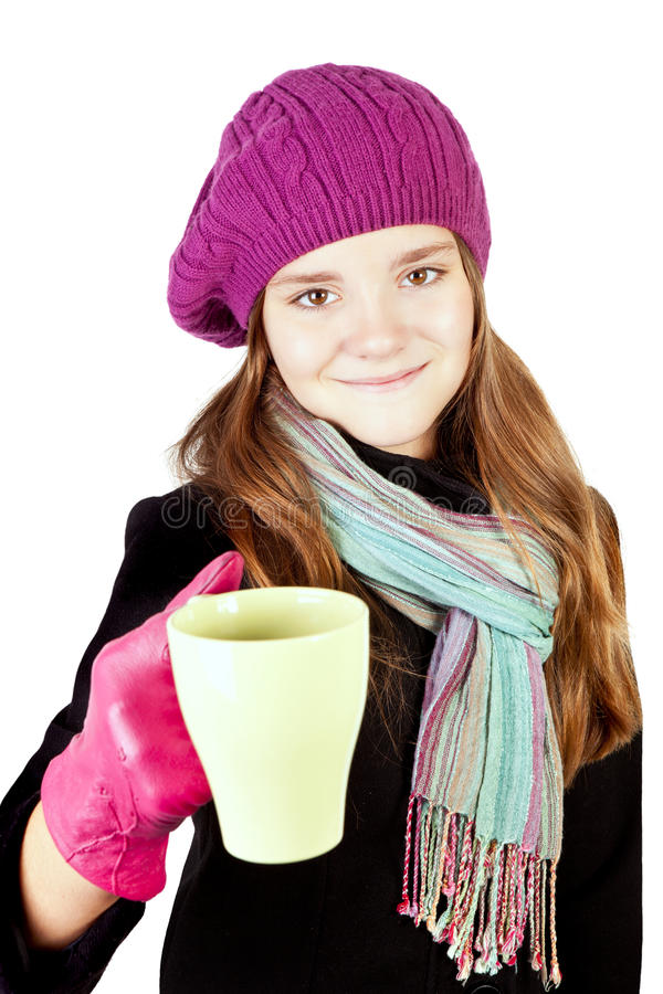 Download Girl In Winter Clothes Holding Cup Of Cure Royalty Free Stock Images - Image: 26616309