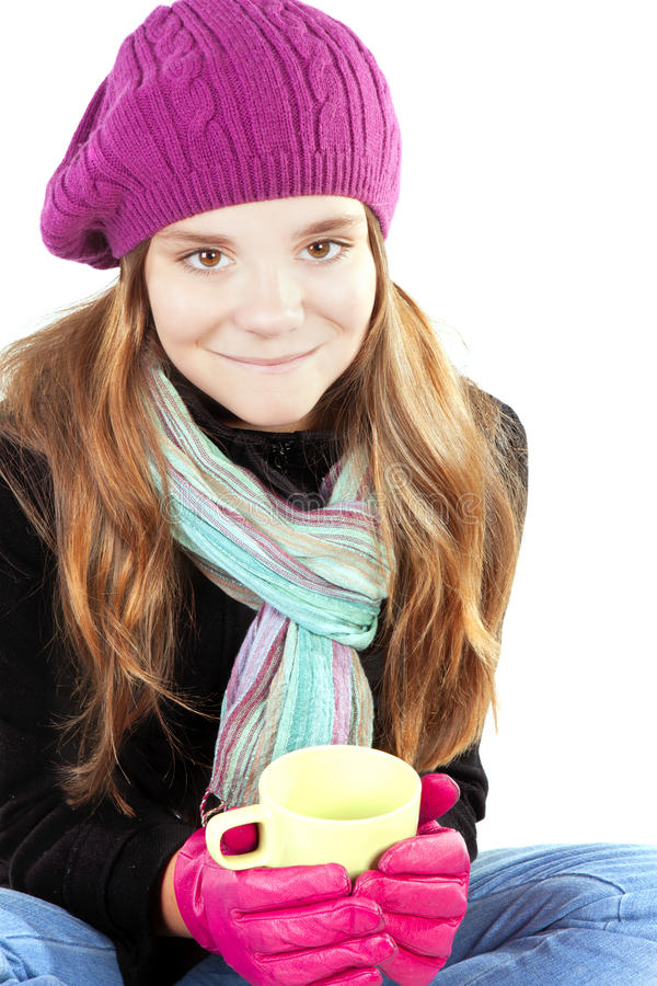 Girl In Winter Clothes Holding Cup Of Warm Cure Royalty Free Stock Photo