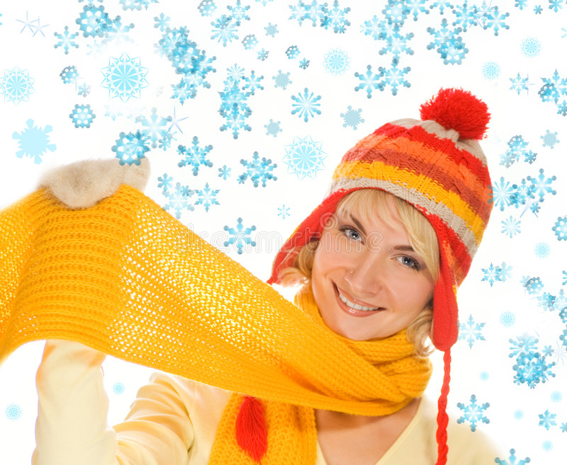 Girl in winter clothing stock photography