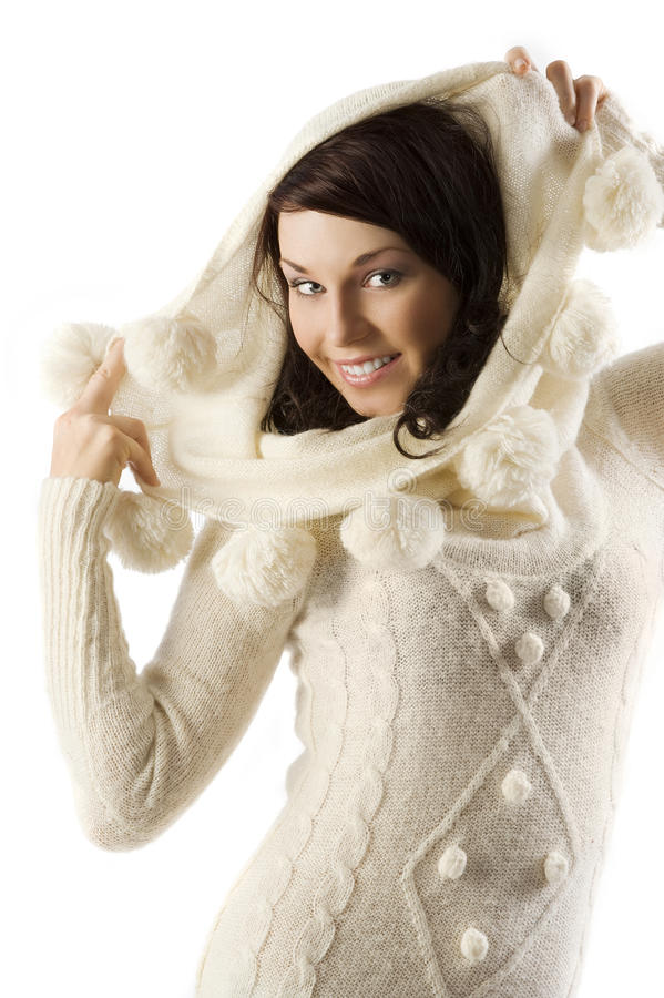 Girl in winter dress stock photo