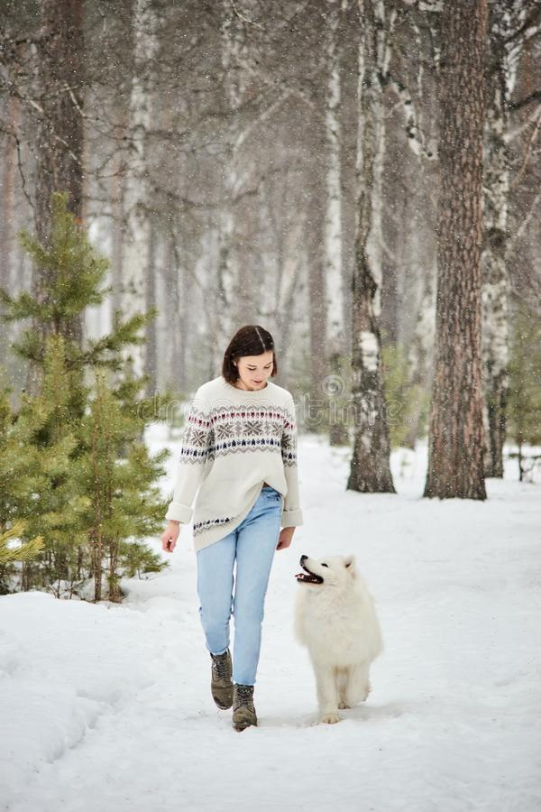 Girl in the winter forest walking with a dog. Snow is falling royalty free stock image