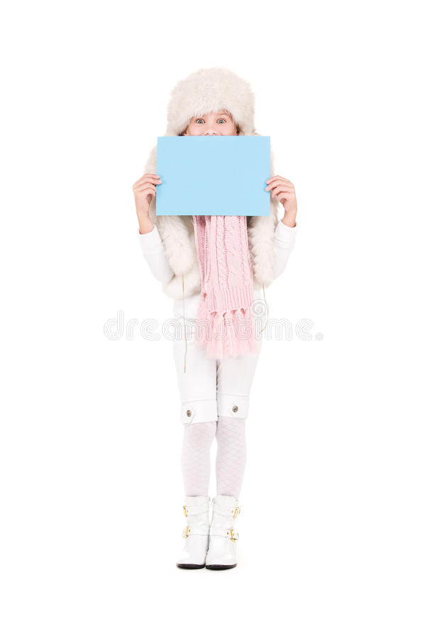 Girl In Winter Hat With Blank Board Stock Photos