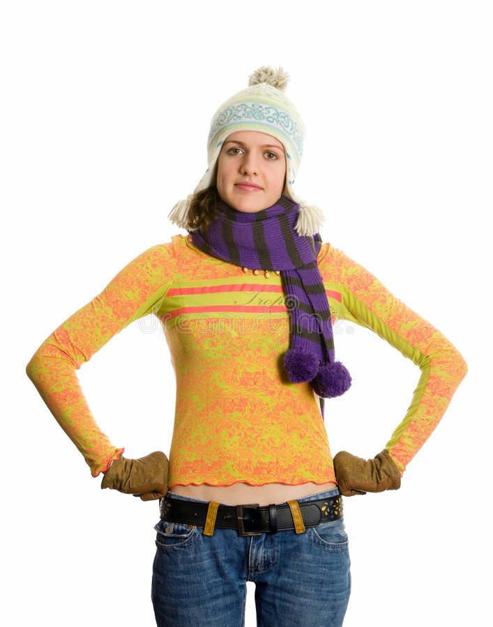 Girl in winter hat and scarf. royalty free stock images