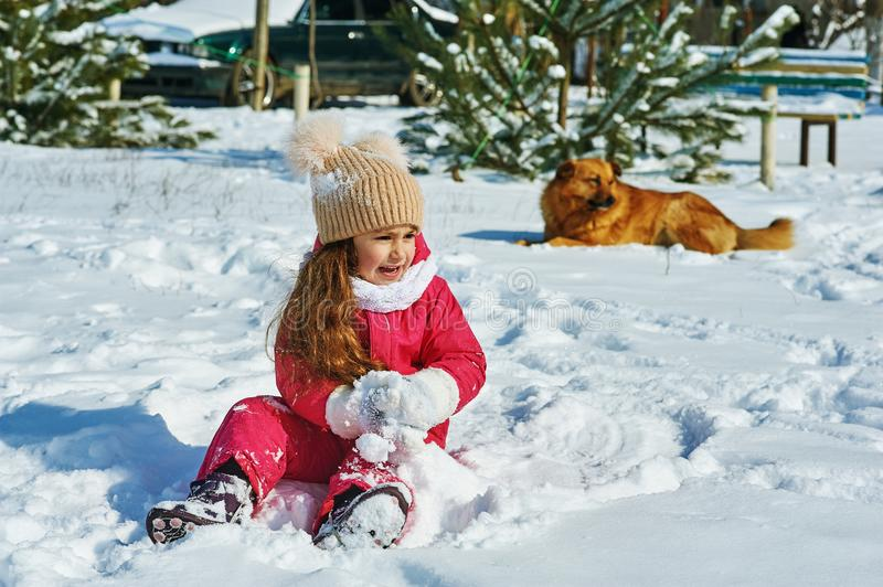 Happy baby on winter walk. Girl on a winter walk with the dog stock photography