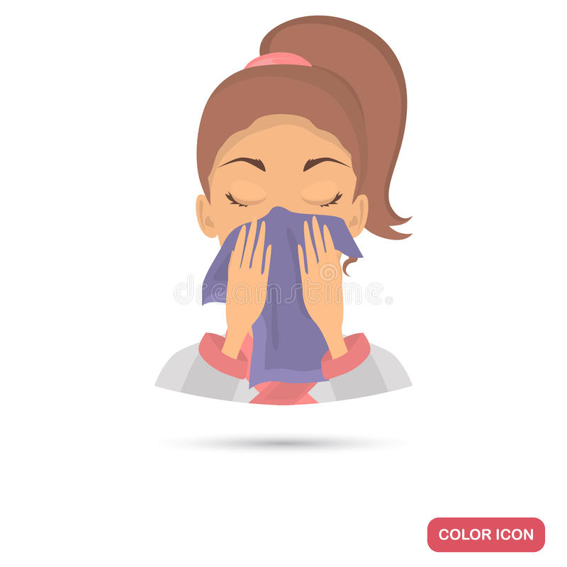 Girl Wipes Her Face With A Towel Color Flat Icon For Web ...