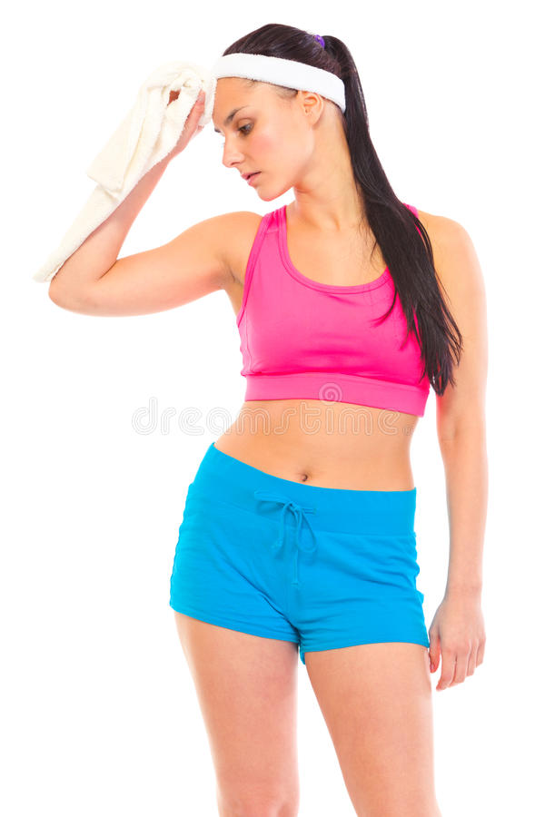 Download Girl Wiping Face With Towel After Exercising Stock Images - Image: 19597184
