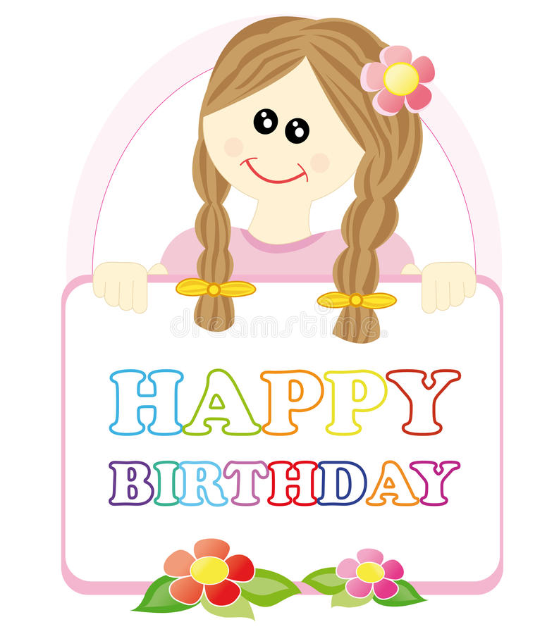 Download Girl Wishing A Happy Birthday Stock Illustration - Image: 18313900