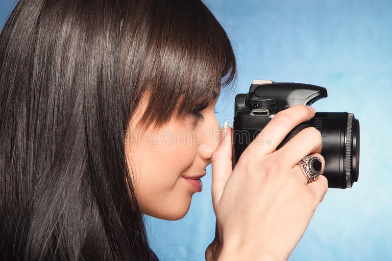 Download Girl wit camera stock image. Image of digital, head, leisure - 24318337