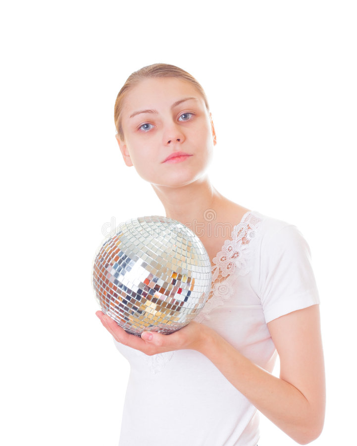 A girl wit glitter mirror ball stock images