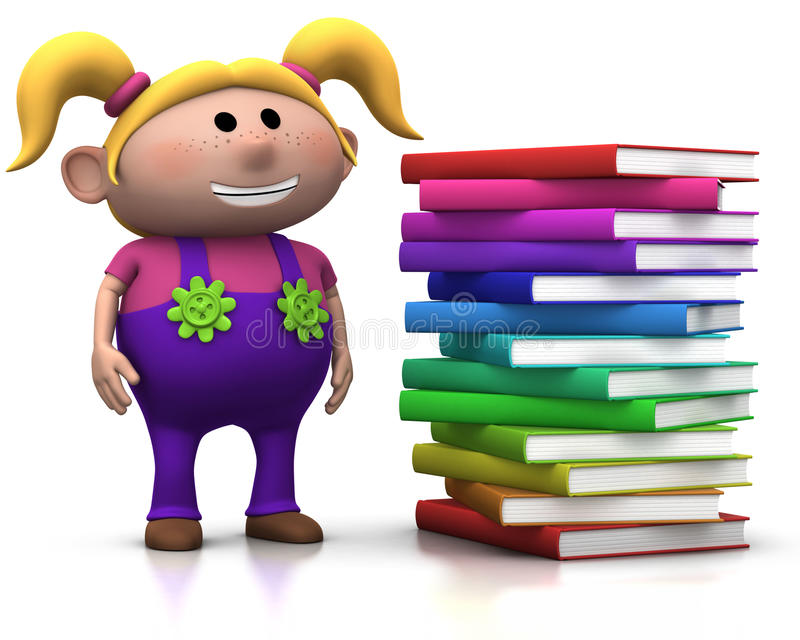 Girl wit stack of books royalty free illustration