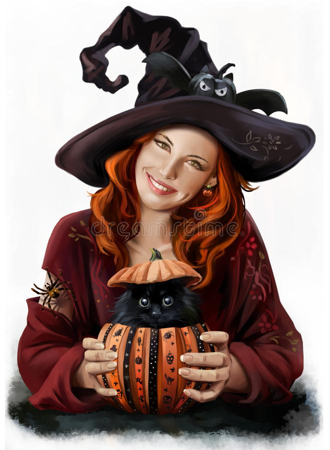 Girl witch and black cat vector illustration