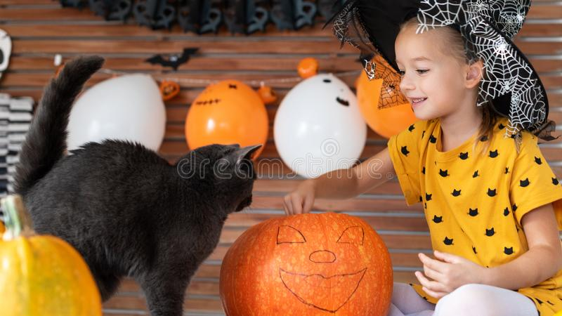 Girl in witch halloween costume sitting on a table playing with pumpkin and her pet cat. Halloween lifestyle background. Girl in witch halloween costume sitting stock photos
