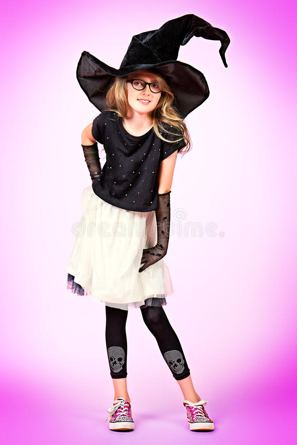 Download Girl in witch hat stock image. Image of length, clothing - 35369229