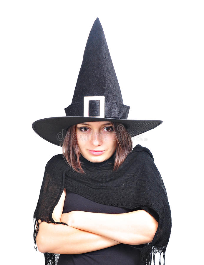 Download Girl With A Witch Hat Smiling Royalty Free Stock Photo - Image: 21621725