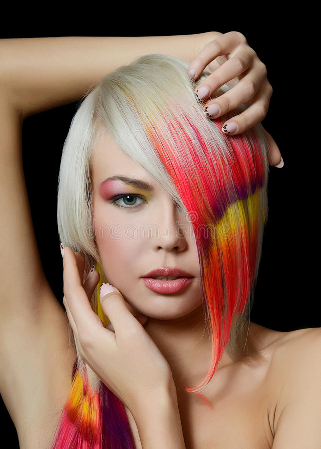 Free Girl With A Bright Make-up And Multi-coloured Hair Stock Photography - 29898942