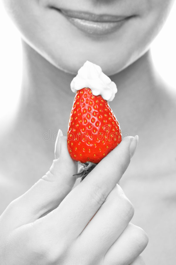 Free Girl With A Juicy Strawberry Royalty Free Stock Image - 2514526