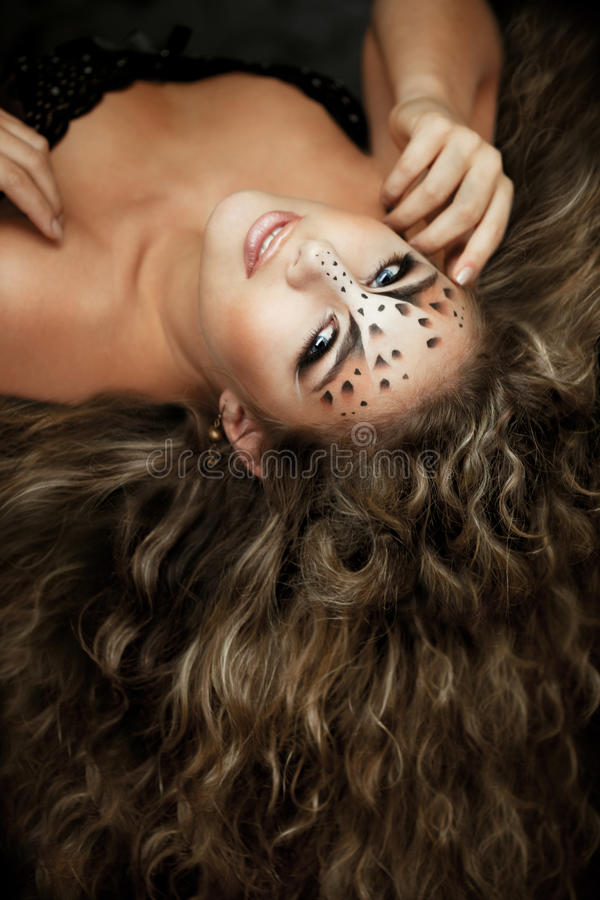 Free Girl With An Unusual Make-up As A Leopard Stock Photo - 18680240