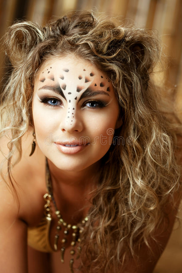 Free Girl With An Unusual Make-up As A Leopard Royalty Free Stock Photos - 18862298
