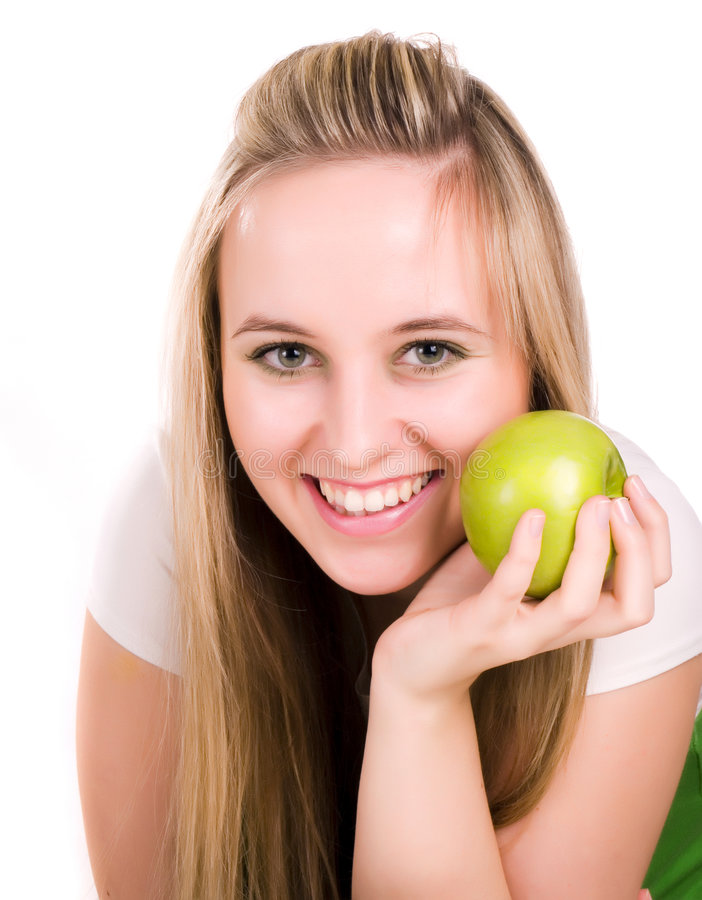 Free Girl With Apple In Hand Royalty Free Stock Image - 3620576