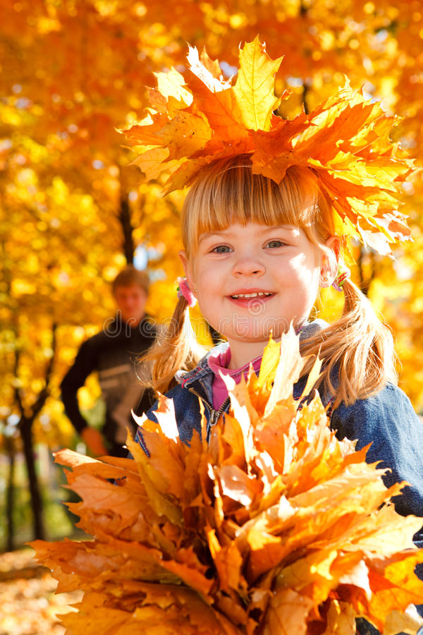 Free Girl With Autumn Leaves Royalty Free Stock Image - 11292846