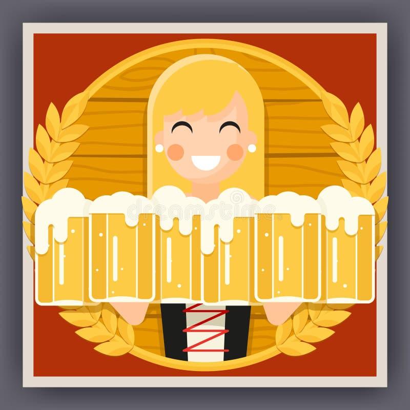 Free Girl With Beer Mug Oktoberfest Poster Festival Celebration Symbol Flat Design Vector Illustration Royalty Free Stock Photos - 76782978