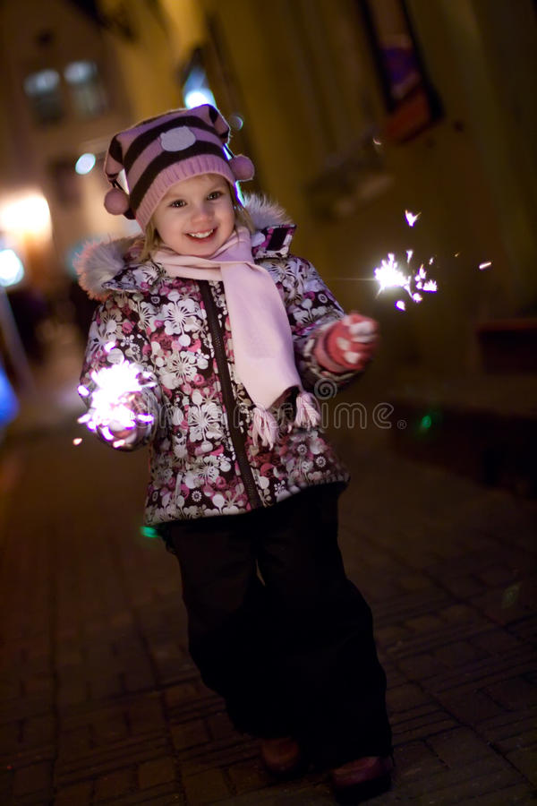 Free Girl With Bengal Light. Royalty Free Stock Image - 11149476