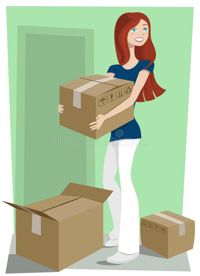 Free Girl With Boxes Stock Photo - 11109510