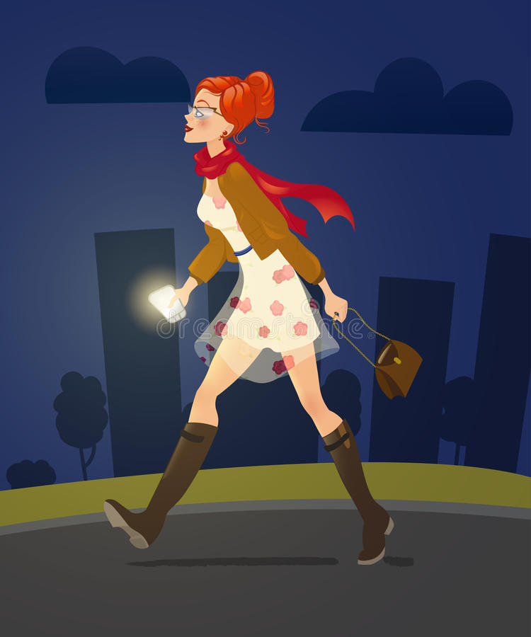 Free Girl With Cellphone Walking Alone At Night Alley. Woman Character. Royalty Free Stock Photo - 79231365