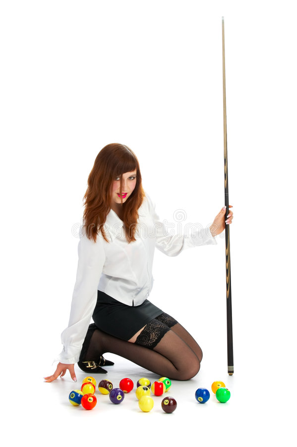 Free Girl With Cue And Ball Royalty Free Stock Images - 3857669