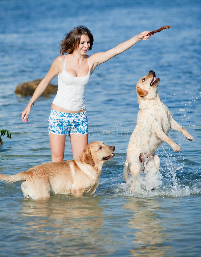 Free Girl With Dogs Royalty Free Stock Photo - 17560015