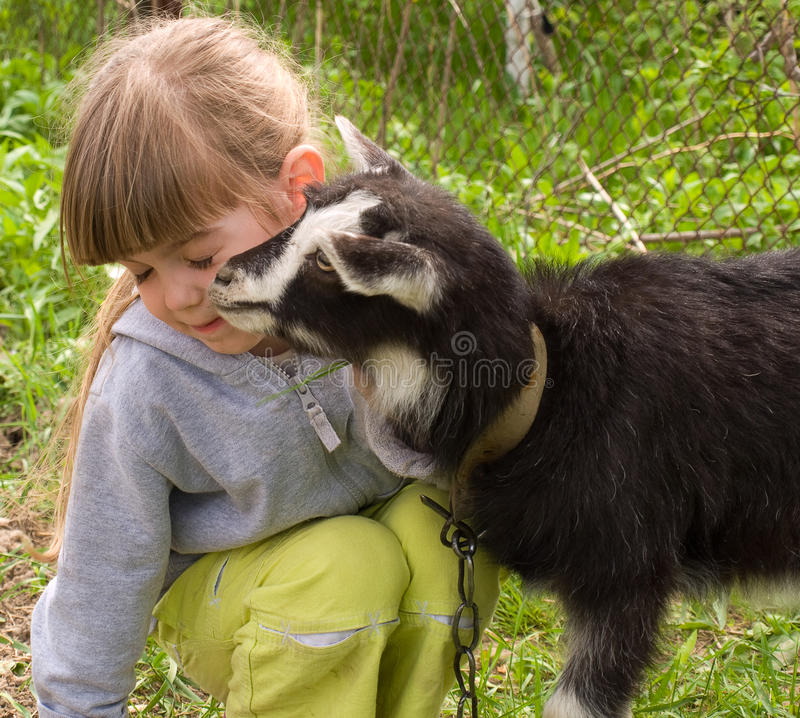 Free Girl With Goat Stock Image - 19837601