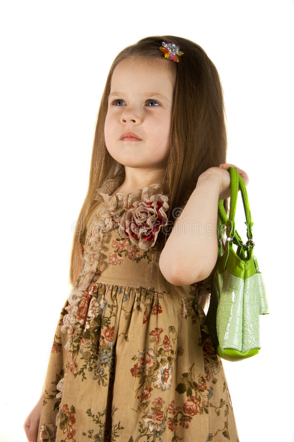 Free Girl With Green Bag Royalty Free Stock Photography - 2085457