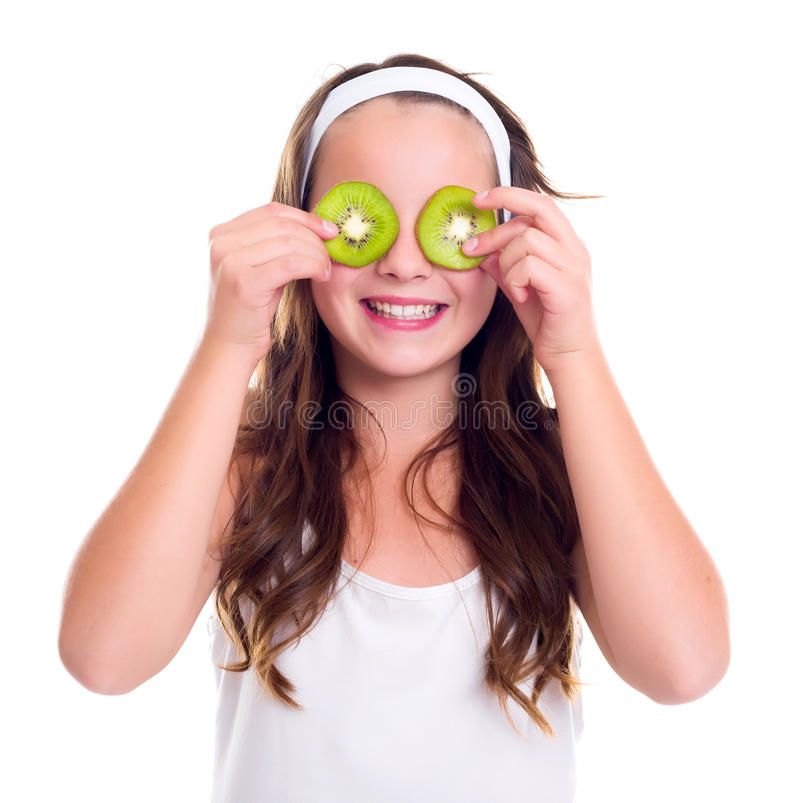 Free Girl With Kiwi Slices Over Her Eyes Stock Photography - 48856002