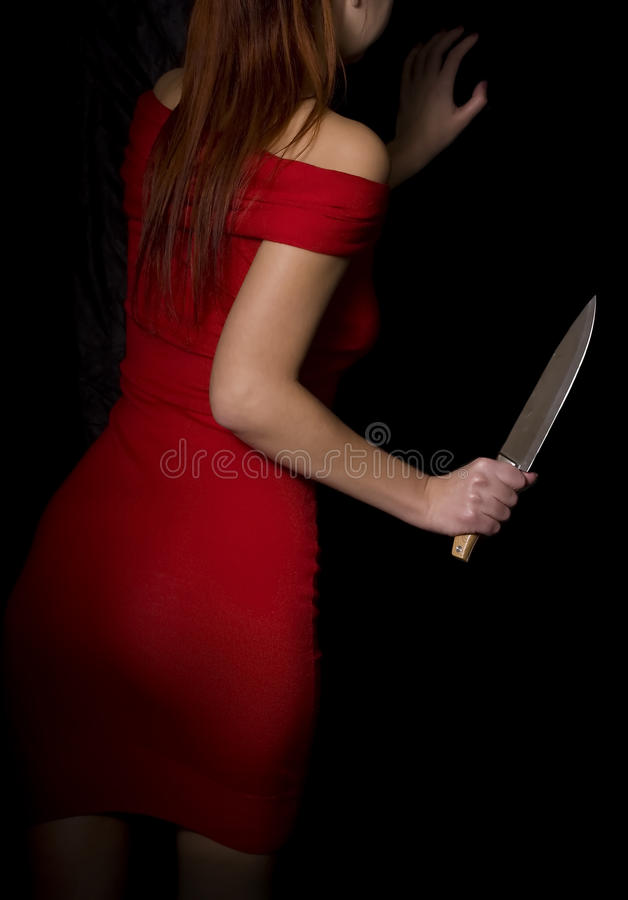 Free Girl With Knife Royalty Free Stock Photography - 63735357