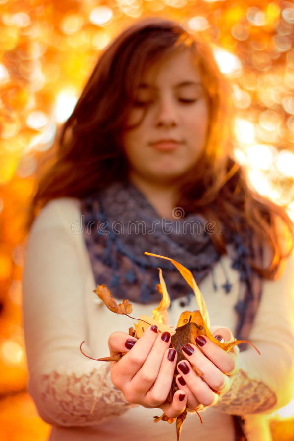 Free Girl With Leaves Royalty Free Stock Photography - 27249497