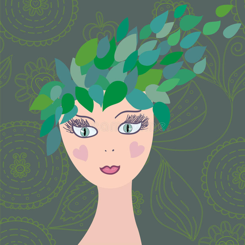 Free Girl With Leaves Hair Royalty Free Stock Photography - 13110477